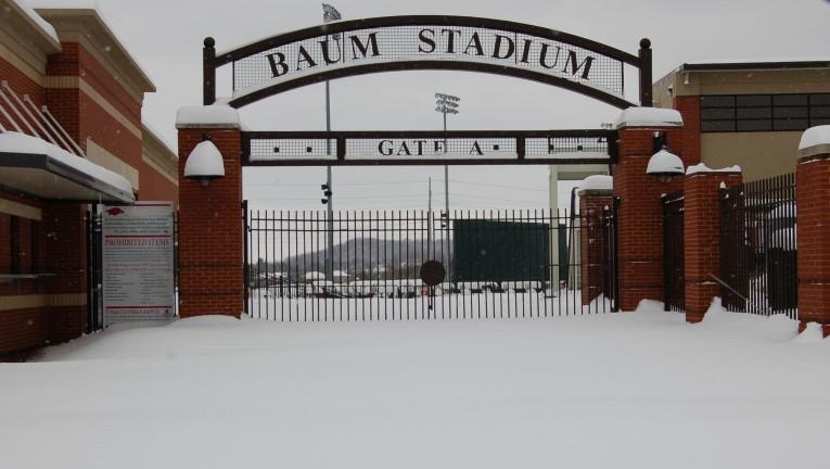Snow Covered Razorback Stadium And Baum Stadium Hog Database