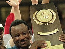 Nolan Richardson with the trophy that, so far, only he has brought to the Ozarks.