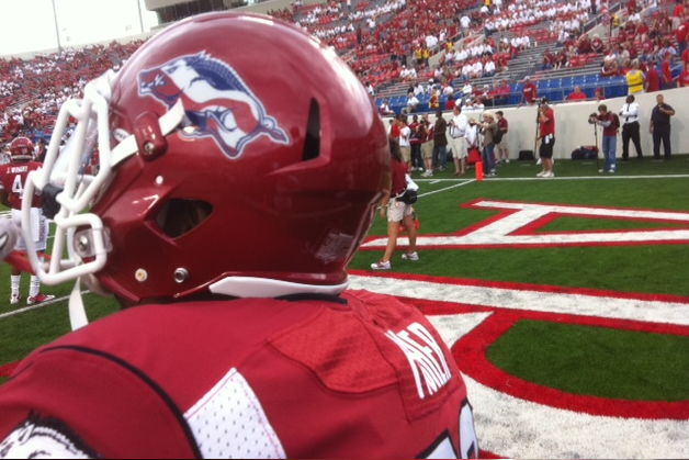 red white and blue razorback helmet