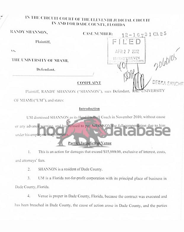 Shannon Lawsuit p. 1a