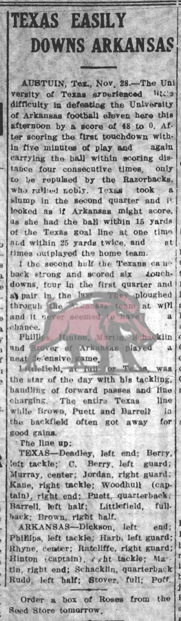 1912-11-29 Fayetteville Daily_Page 1 UA v. Texas