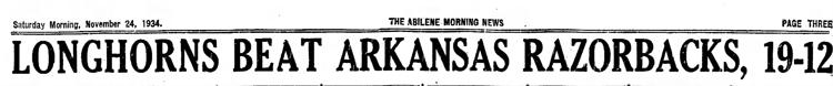 1934-11-24 Abilene_Reporter_News_Sat__Nov_24__1934 p. 3 Headline Game 16