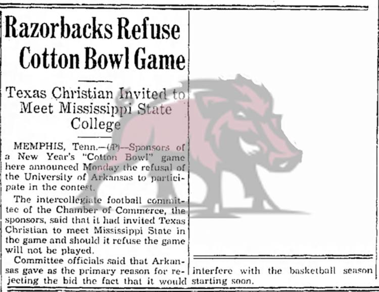 1936-12-08 Hope_Star_Tue__Dec_8__1936 p. 8 Razorbacks Refuse Bowl Game Game 18