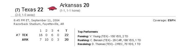 76 2004-09-11 Texas Longhorns vs Arkansas- Sept. 11- 2004 ESPN Header
