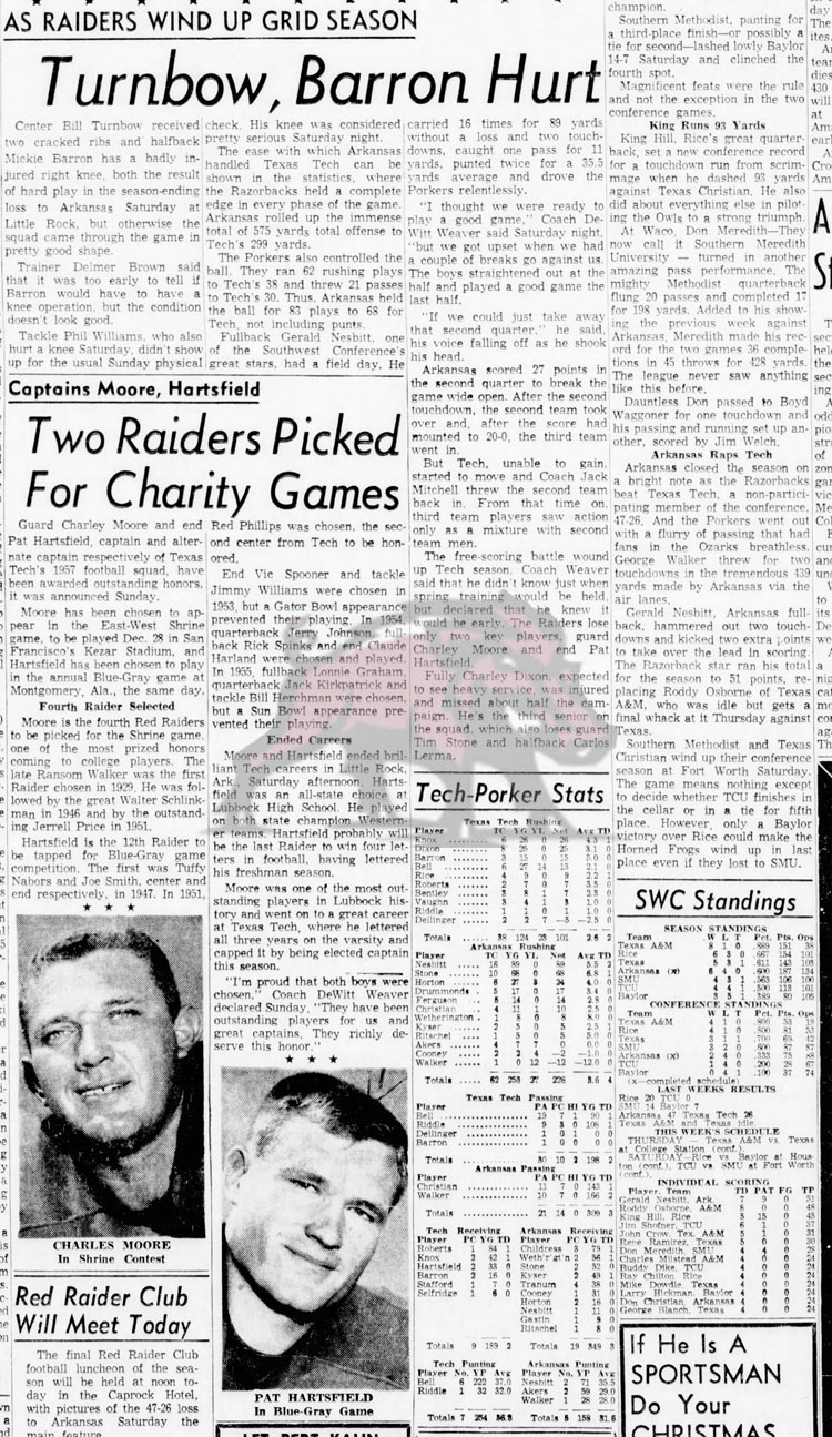 1957-11-25 Lubbock_Morning_Avalanche_Mon__Nov_25__1957 Tech winds up season
